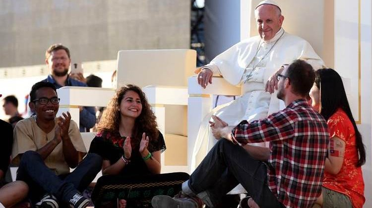 Pope Francis with youth, Poland