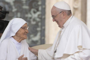 His Holiness addresses Sr Maria Concetta Esu, an 85-year-old missionary nun