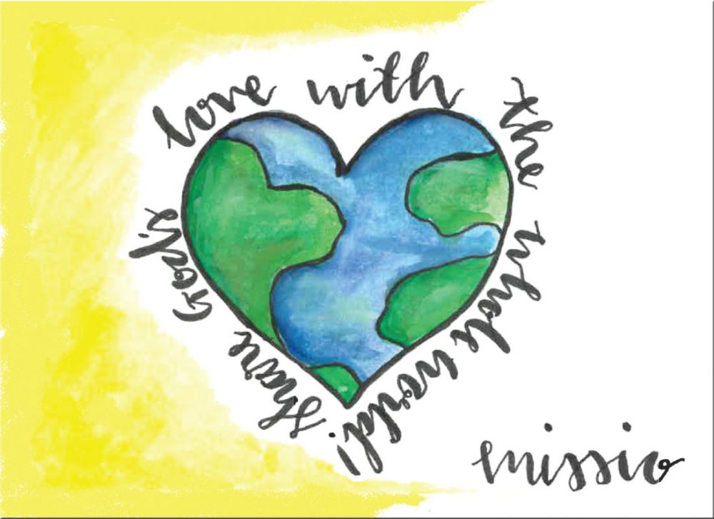 A heart shaped world with the inscription 'Share God's love with the whole world!'