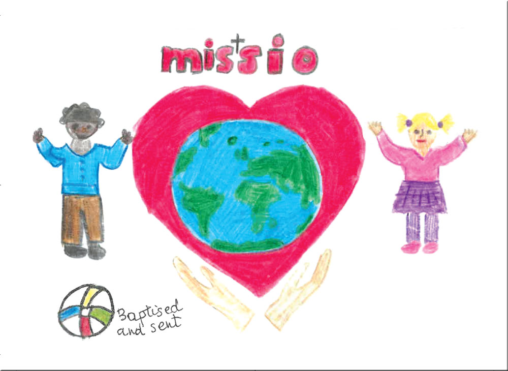 The world in a heart held up by hands, with a girl and a boy on either side. the Missio and Baptised and Sent logos