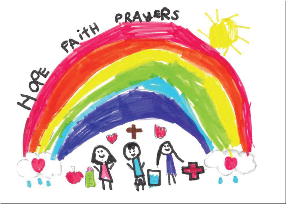 A colourful rainbow with missionaries beneath it and 'Hope, Faith, Prayers' written above