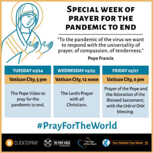 Prayer schedule for the Special Week of Prayer for the Covid-19