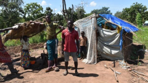 Families who have lost their homes are forced to build temporary shelters