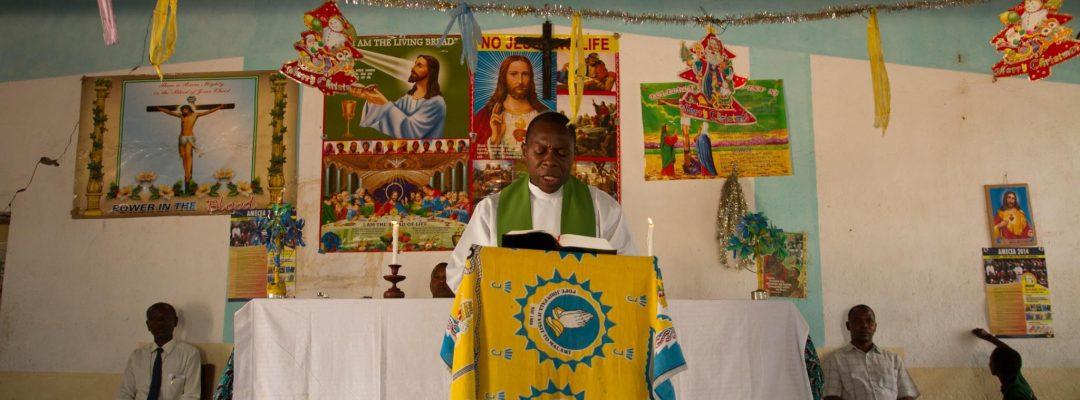 Fr Vincent celebrating Mass at Christmas time in Malawi